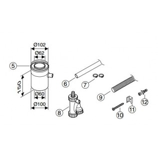 Горизонтальный элемент для отвода конденсата DN60/100