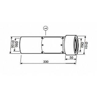 Коаксиальная труба с люком ревизии DN60/100 L=330